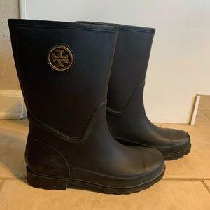 Mid Calf Tory Burch Black Rubber Rain Boots
